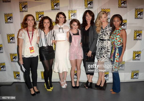 Moderator Nicole Sperling actresses Tatiana Maslany Sarah Paulson Maisie Williams Katey Sagal Natalie Dormer and Nicole Beharie attend Entertainment...