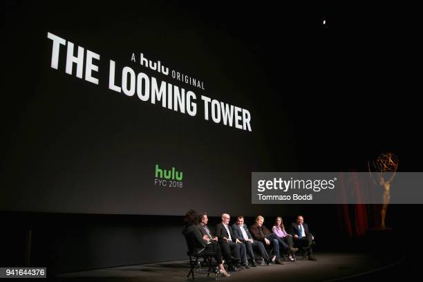 Moderator Nicole Sperling executive producers Lawrence Wright Alex Gibney Ali Soufan actors Jeff Daniels Wrenn Schmidt and Bill Camp speak onstage...