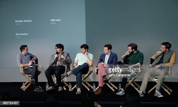 Moderator Nigel Smith, Director Andrew Disney, Writer Bradley Jackson and Actors Jake Lacy, Brian McElhaney and Nick Kocher attend Tribeca Film...