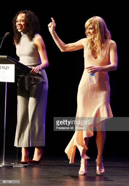 Moderator Nischelle Turner and actress Anna Faris of the CBS television show Mom speak during The Paley Center for Media's 35th Annual PaleyFest Los...