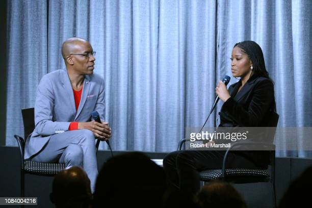 Moderator Patrick Riley and Actress/Singer Keke Palmer attend NAACP Image Awards Screening of 'PIMP' on December 17 2018 in Los Angeles California