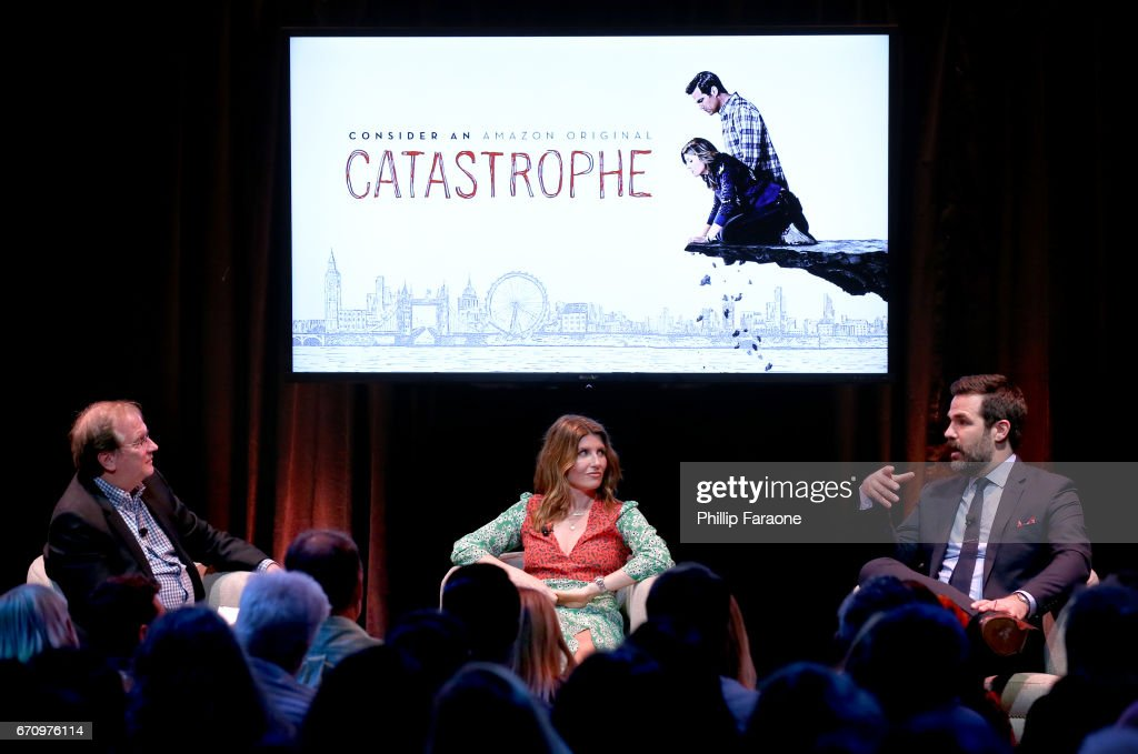 Moderator Pete Hammond, actor Sharon Horgan and actor Rob Delaney speak onstage at the Amazon Studios Emmy For Your Consideration Event at Hollywood Athletic Club on April 20, 2017 in Hollywood, California.