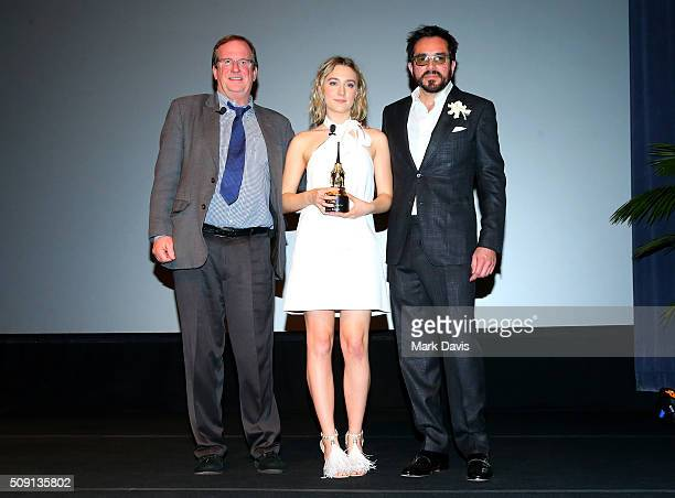 Moderator Pete Hammond Actress Saoirse Ronan of Brooklyn and SBIFF Director Roger Durling attend the Outstanding Performer of the Year ceremony at...