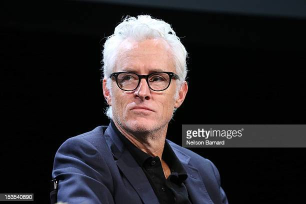 Moderator Rebecca Mead chats with actor John Slattery, Jennifer Ehle, Dan Stevens and Cherry Jones during the Period Acting - Living History Panel as...