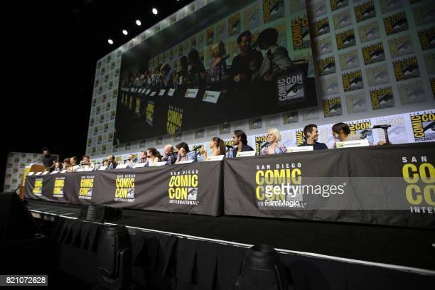 Moderator Reggie Watts actors Shannon Woodward Luke Hemsworth Angela Sarafyan Ben Barnes Jeffrey Wright and Evan Rachel Wood writer/producers...