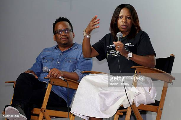 Moderator Ricardo McRae and filmmaker Alison Anderson attend the CaribbeanTales International Film Festival media launch at Royal Cinema on July 6,...