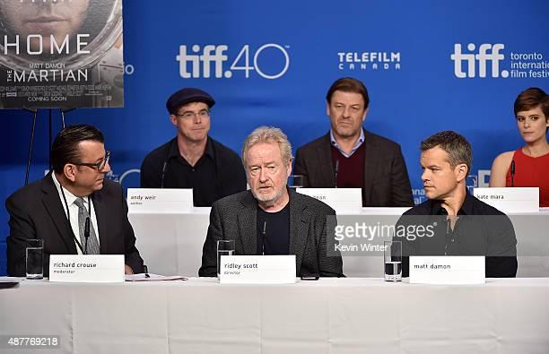 Moderator Richard Crouse writer Andy Weir director Ridley Scott actors Sean Bean Matt Damon and Kate Mara speak onstage during the 'The Martian'...