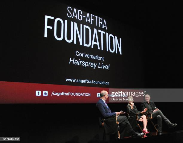 Moderator Richard Ridge, actress Kristin Chenoweth and film producer Neil Meron attend SAG-AFTRA Foundation Conversations: 'Hairspray Live!' at...