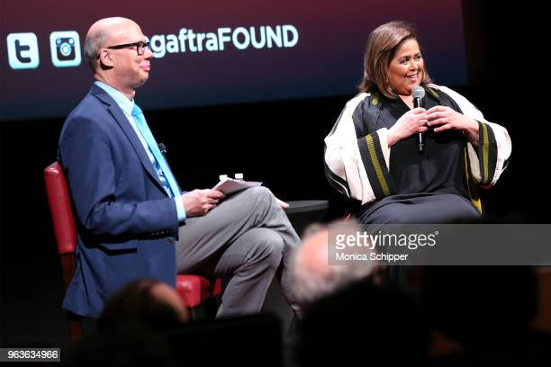 Moderator Richard Ridge and actress and playwright Anna Deavere Smith speak on stage during SAGAFTRA Foundation Conversations 'Notes From The Field'...
