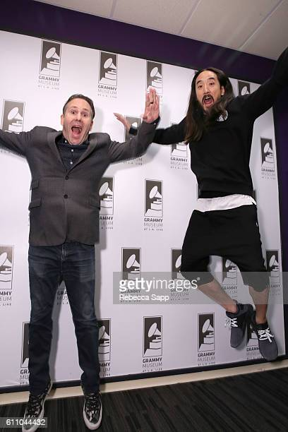 Moderator Robin Nixon and musician Steve Aoki attend Up Close Personal Steve Aoki at The GRAMMY Museum on September 28 2016 in Los Angeles California