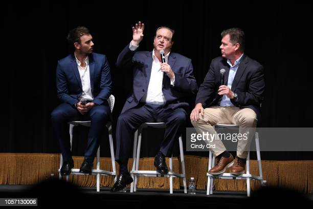 Moderator Sam Lansky Nick Vallelonga and Brian Hayes Currie speak at the 'Green Book' QA during the 21st SCAD Savannah Film Festival on November 3...