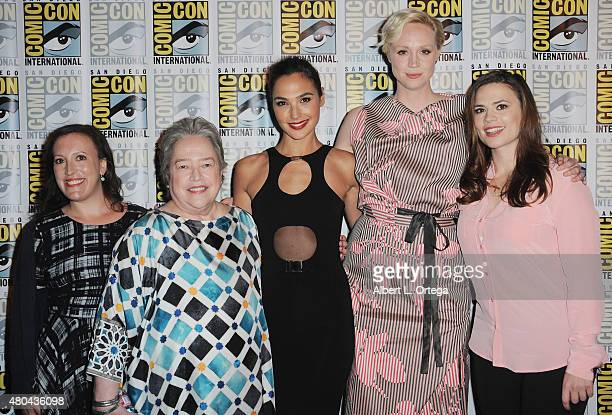 Moderator Sara Vilkomerson with actresses Kathy Bates Gal Gadot Gwendoline Christie and Hayley Atwell pose at the Entertainment Weekly Women Who Kick...