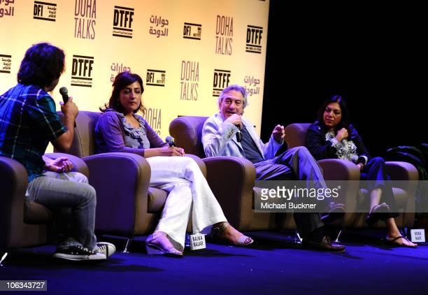 Moderator Scandar Copti director Najwa Najjar actor/cofounder of the Tribeca Film Festival Robert De Niro and director Mira Nair speak at the Doha...
