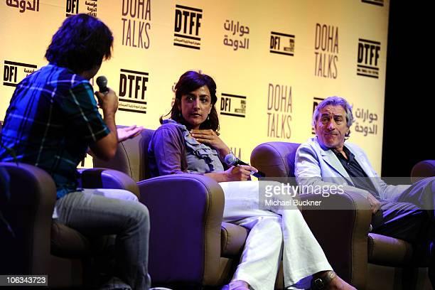 Moderator Scandar Copti director Najwa Najjar and actor/cofounder of the Tribeca Film Festival Robert De Niro speak at the Doha Talks DFI's OneMinute...