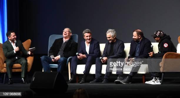 Moderator Scott Feinberg Adam McKay Pawel Pawlikowski Alfonso Cuaron Yorgos Lanthimos and Spike Lee speak onstage at the Outstanding Directors Award...