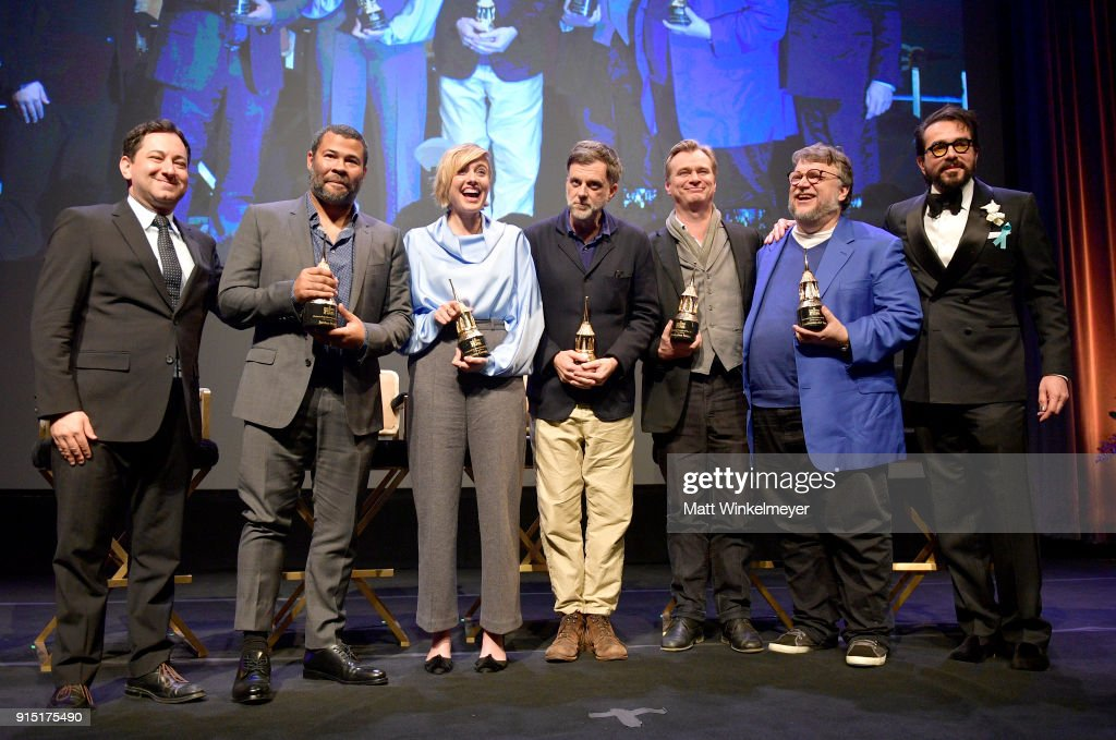 Moderator Scott Feinberg, directors Jordan Peele, Christopher Nolan, Greta Gerwig, Paul Thomas Anderson, Guillermo del Toro and SBIFF Executive Director Roger Durling pose onstage at the Outstanding Directors Award Sponsored by The Hollywood Reporter during The 33rd Santa Barbara International Film Festival at Arlington Theatre on February 6, 2018 in Santa Barbara, California.