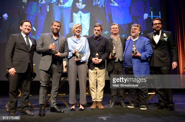 Moderator Scott Feinberg directors Jordan Peele Christopher Nolan Greta Gerwig Paul Thomas Anderson Guillermo del Toro and SBIFF Executive Director...