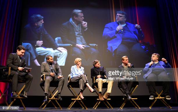 Moderator Scott Feinberg directors Jordan Peele Christopher Nolan Greta Gerwig Paul Thomas Anderson and Guillermo del Toro speak onstage at the...