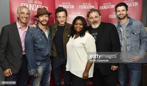 Moderator Scott Mantz actors Clifton Collins Jr John Hawkes Octavia Spencer Jeremy Ratchford and James Lafferty pose for portrait at SAGAFTRA...