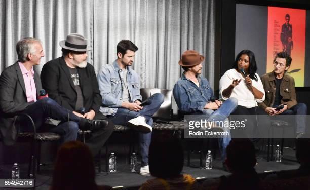 Moderator Scott Mantz, actors Jeremy Ratchford, James Lafferty, Clifton Collins Jr., Octavia Spencer, and John Hawkes speak onstage at SAG-AFTRA...