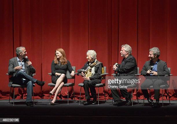 Moderator Scott Mantz actress Amy Adams artist Margaret Keane and writers Larry Karaszewski and Scott Alexander speak onstage during The Weinstein...