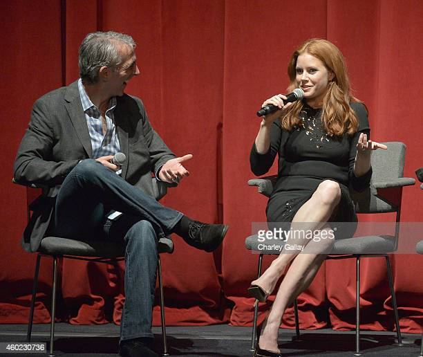 Moderator Scott Mantz and actress Amy Adams speak onstage during The Weinstein Company's Big Eyes Los Angeles special screening in partnership with...