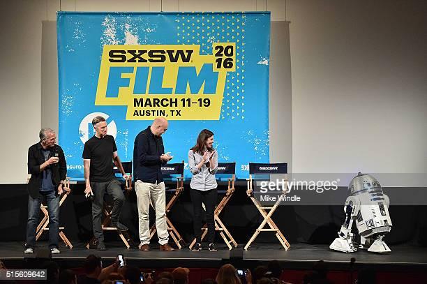 Moderator Scott Mantz sound editor Matthew Wood VFX supervisor Roger Guyett coproducer Michelle Rejwan and R2D2 attend the screening of Secrets of...