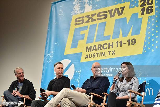 Moderator Scott Mantz sound editor Matthew Wood VFX supervisor Roger Guyett and coproducer Michelle Rejwan attend the screening of Secrets of The...