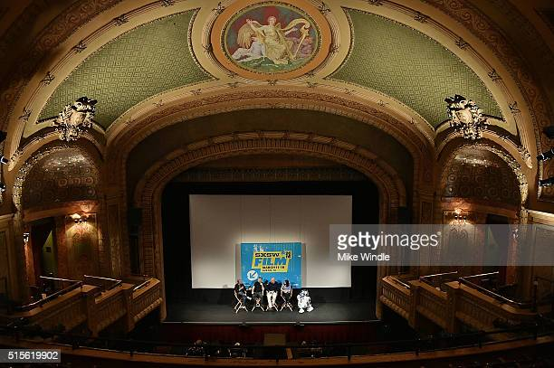 Moderator Scott Mantz sound editor Matthew Wood VFX supervisor Roger Guyett coproducer Michelle Rejwan and R2D2 attend the screening of Secrets of...