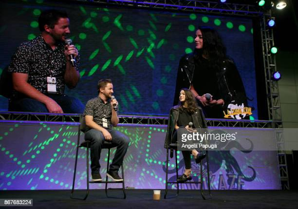 Moderator Sean Gerber and actor Chloe Bennet speak onstage at Los Angeles Convention Center on October 28 2017 in Los Angeles California
