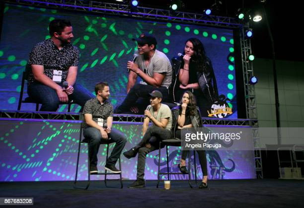 Moderator Sean Gerber and actors Gabriel Luna and Chloe Bennet speak onstage at Los Angeles Convention Center on October 28 2017 in Los Angeles...