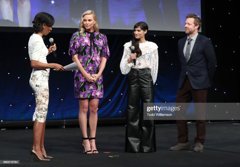 Moderator Shaun Robinson, actors Charlize Theron, Sofia Boutella and director David Leitch speak onstage at CinemaCon 2017- Focus Features: Celebrating 15 Years and a Bright Future at Caesars Palace during CinemaCon, the official convention of the National Association of Theatre Owners, on March 29, 2017 in Las Vegas Nevada.
