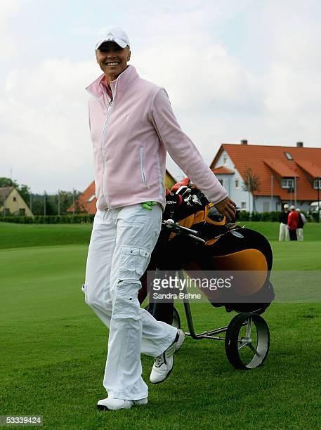 Moderator Sonja Zietlow smiles during the Adidas Golf Tournament at the Golfclub Herzogenaurach on August 8 2005 in Herzogenaurach Germany