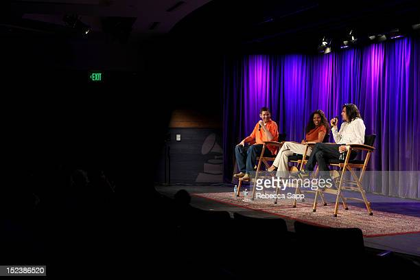 Moderator Soren Baker interviews Dr Gaye Theresa Johnson and Jorge Hinojosa at Reel To Reel Art Of Rap Screening / Jazz Reception at The GRAMMY...