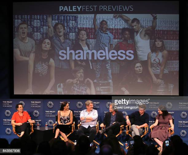 Moderator Stacey Wilson Hunt actress Emmy Rossum executive producer/writer John Wells and actors William H Macy Jeremy Allen White and Emma Kenney...