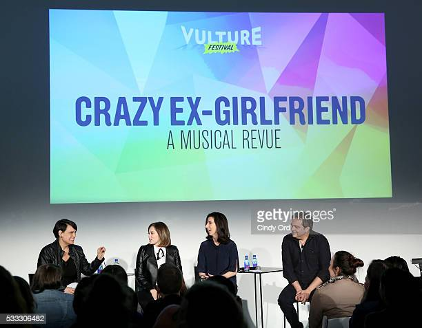 Moderator Stacey Wilson Hunt and actors Adam Schlesinger, Rachel Bloom and Aline Brosh McKenna speak at 'Crazy Ex Girlfriend: A Musical Revue' at the...