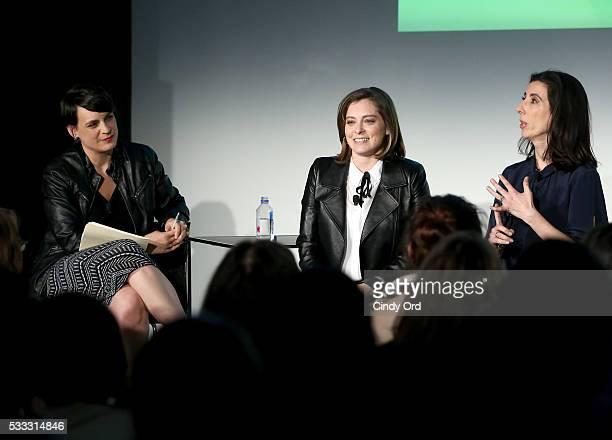 Moderator Stacey Wilson Hunt and actors Rachel Bloom and Aline Brosh McKenna speak at 'Crazy Ex Girlfriend: A Musical Revue' during the Vulture...