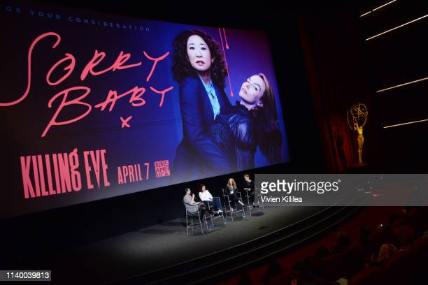 Moderator Stacey Wilson Hunt Sandra Oh Jodie Comer and Executive Producer Sally Woodward Gentle speak onstage during Killing Eve FYC Event on April...