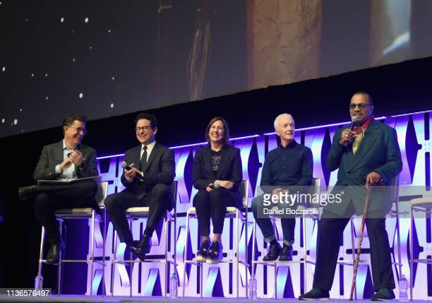 Moderator Stephen Colbert Director JJ Abrams Producer Kathleen Kennedy Anthony Daniels and Billy Dee Williams onstage during The Rise of Skywalker...