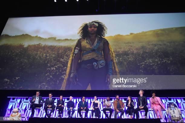 BB8 Moderator Stephen Colbert Director JJ Abrams Producer Kathleen Kennedy Anthony Daniels Billy Dee Williams Daisy Ridley John Boyega Oscar Isaac...
