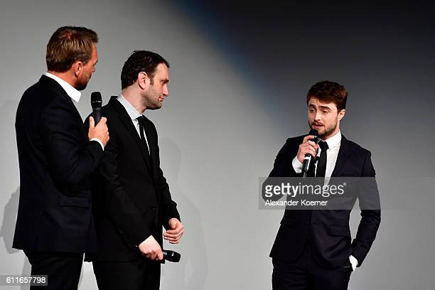 Moderator Steven Gaetjen director Daniel Ragussis and Daniel Radcliffe are seen on stage during the 'Imperium' premiere during the 12th Zurich Film...
