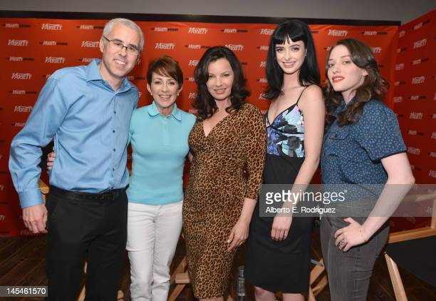 Moderator Stu Levine and actresses Patricia Heaton Fran Drescher Krysten Ritter and Kat Dennings attend Day 1 of the Variety EMMY studio sponsored by...