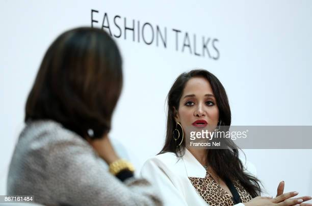 Moderator Sujata Assomull and Fashion Pirate Lana el Sahely during the d3 Fashion Talk How Influencers are Changing the Fashion Landscape on Day 2 of...