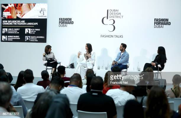 Moderator Sujata Assomull Fashion Pirate Lana el Sahely Ahmad Daabas and Alia Fawad during the d3 Fashion Talk How Influencers are Changing the...