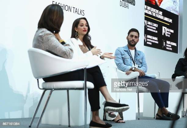 Moderator Sujata Assomull Fashion Pirate Lana el Sahely and Ahmad Daabas during the d3 Fashion Talk How Influencers are Changing the Fashion...