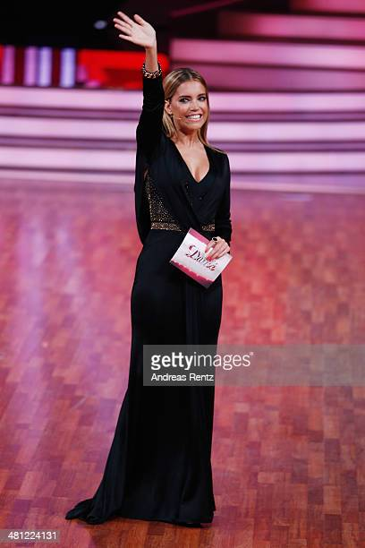 Moderator Sylvie Meis gestures during the 1st Show of 'Let's Dance' on RTL at Coloneum on March 28 2014 in Cologne Germany