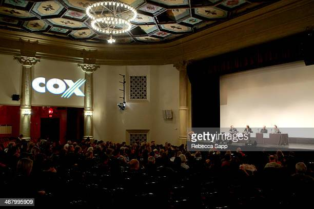 "Moderator Ted Gagliano and Visual Effects artists Rob Legato, Joe Letteri, and Tim Webber speak at the ""VFX Technology Panel"" at the Lobero at the..."