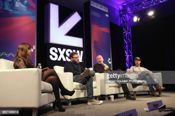 SXSW moderator Terri Schwartz actor Seth Rogen graphic novelist and coexecutive producer Garth Ennis and executive producer Sam Catlin speak onstage...