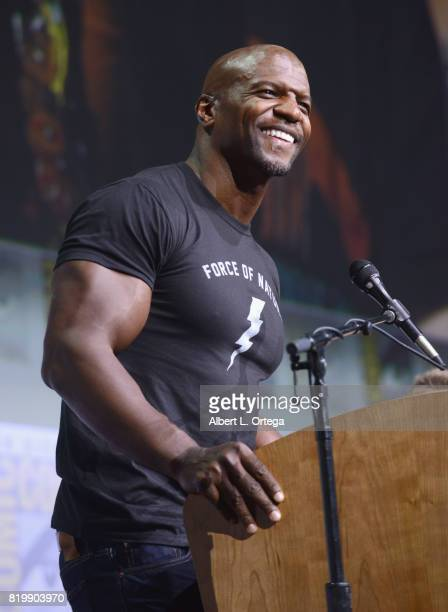 Moderator Terry Crews speaks onstage at Netflix Films 'Bright' and 'Death Note' panel during ComicCon International 2017 at San Diego Convention...