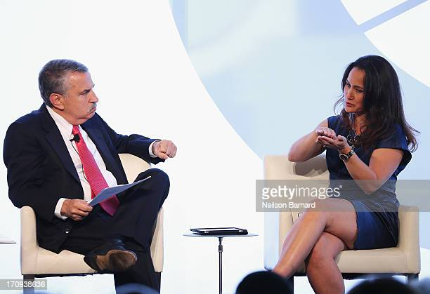 Moderator Thomas L Friedman speaks with DrCynthia Breazeal of the MIT Personal Robots Group Media Lab during the Social Skills Building A Better...